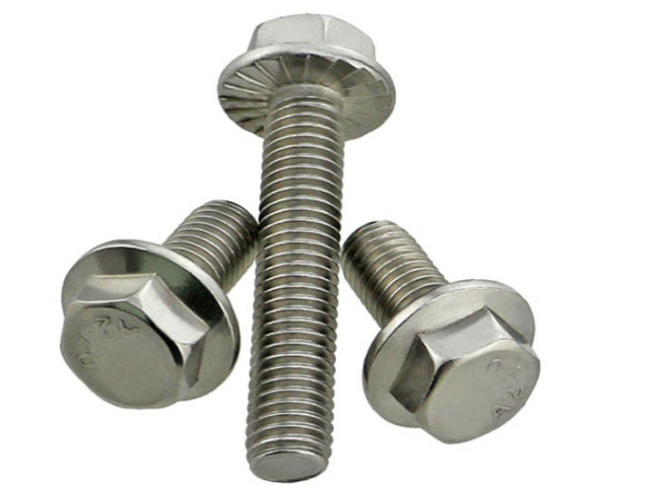 Combined Drive 40mm Stainless Steel Machine Screws , Serrated Hex Flange Bolt